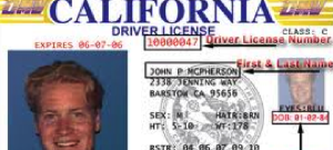 Example California driver's license