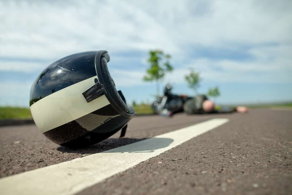 Motorcycle helmet after crash